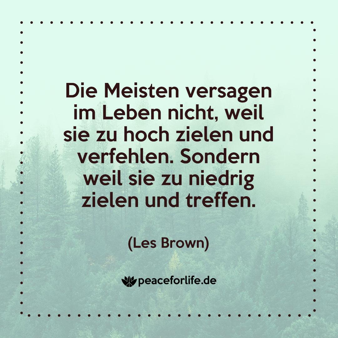 Die Meisten versagen im Leben nicht, weil sie zu hoch zielen und verfehlen. Sondern weil sie zu niedrig zielen und treffen. - Les Brown