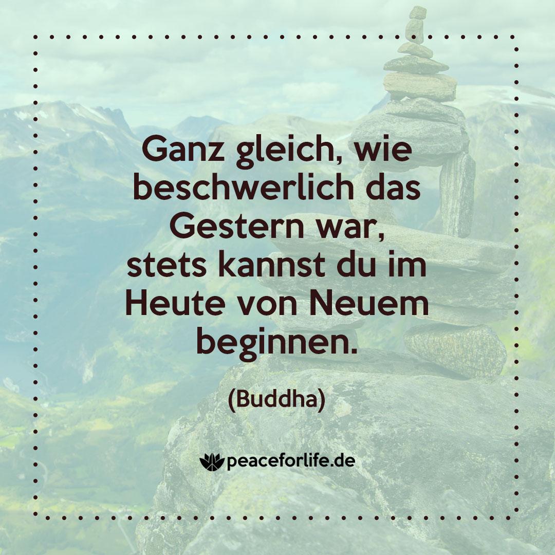Ganz gleich, wie beschwerlich das Gestern war, stets kannst du im Heute von Neuem beginnen. - Buddha