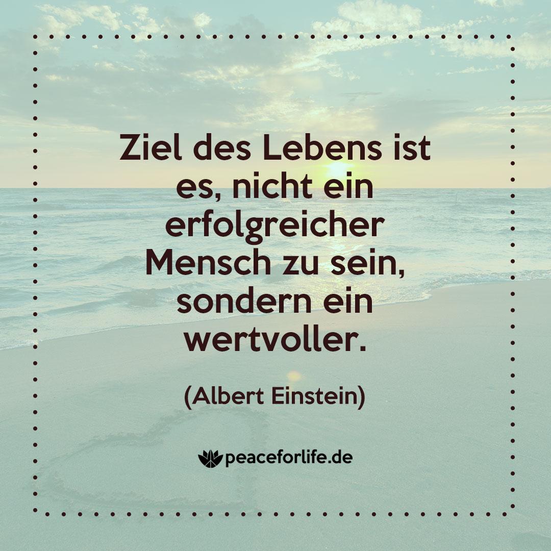Ziel des Lebens ist es, nicht ein erfolgreicher Mensch zu sein, sondern ein wertvoller. - Albert Einstein
